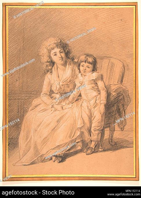 Portrait of a Mother and Child. Artist: François André Vincent (French, Paris 1746-1816 Paris); Date: n.d; Medium: Black chalk, heightened with white chalk