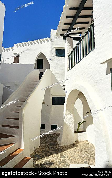 Binibeca Vell is the busiest fishing village on the island of Menorca, due to its white and whitewashed houses, and its narrow streets forming a labyrinth