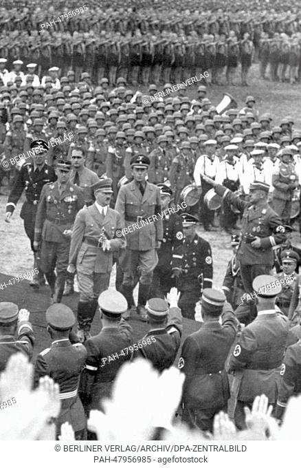 Nuremberg Rally in Nuremberg, Germany - Arrival of Adolf Hitler for the laying of the foundation stone for the German stadium on the Nazi party rally grounds