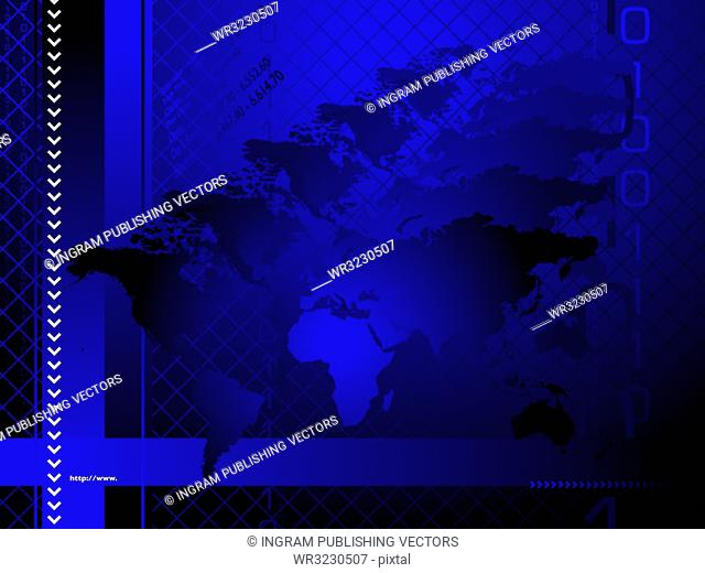 An abstract business background with a hologram like map of the world
