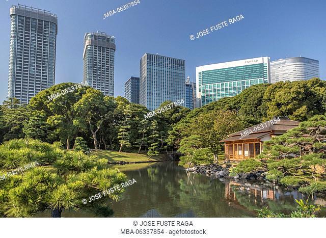 Japan, Tokyo City, Hama Rykiu Garden, Shimbashi Skyline