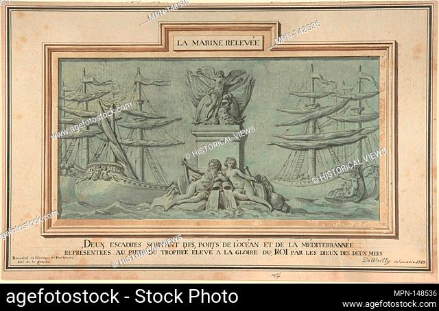 Study for Decoration of the Obelisk at Port-Vendres. Artist: Charles de Wailly (French, Paris 1730-1798 Paris); Date: 1783; Medium: Pen and black ink