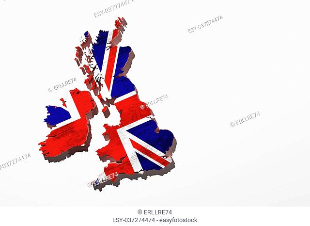 3d rendering of an uk map with a flag stamped