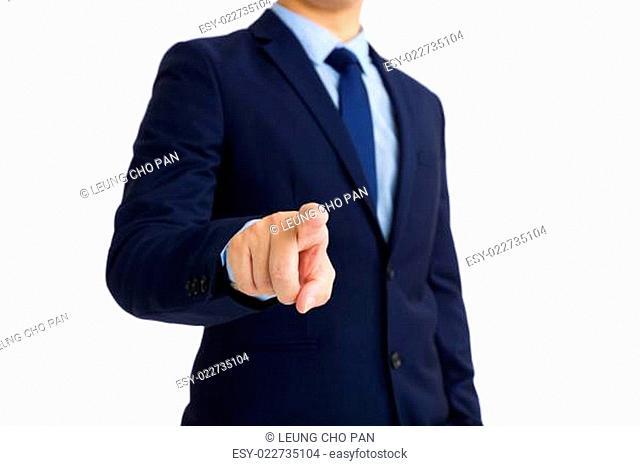 Business Man pushing on screen interface