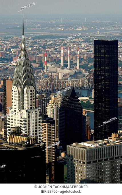 USA, United States of America, New York City: View of the sky scraper panorama of Midtown Manhattan, from the Empire State building. Chrysler Building