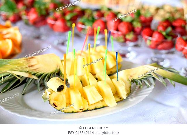 nice looking and tasty pineapple on wedding reception