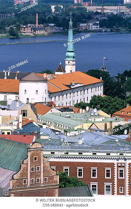 Riga castle, view on old town from St. Peter's church tower. Riga, Latvia