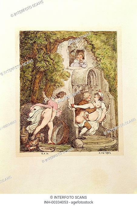 Ü Menschen hist - Erotik, Koitus, The Rockery, Zeichnung v  Thomas Rowlandson 1756 - 1827, Victoria & Albert Museum, London coitus a priori, spanner, spannerin
