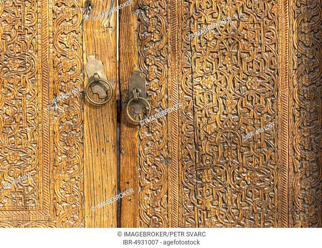 Ornate Wooden Door, Khiva, Uzbekistan, Asia
