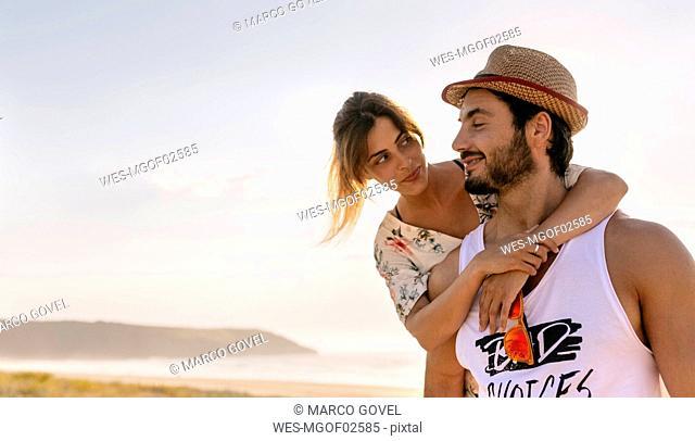 Couple in love near the coast