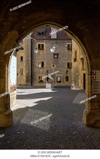 Courtyard in Neuchâtel Castle / Chateau de Neuchatel, Neuchâtel, Canton Neuchâtel, Western Switzerland, Switzerland