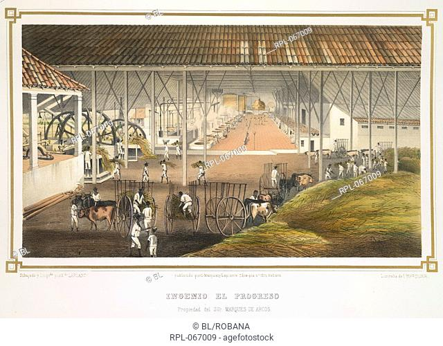 The interior of a sugar mill in Cuba where the slave workers feed a harvested crop into machinery. Image taken from the Collection of views from leading sugar...