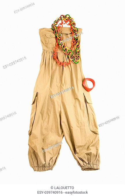 7a01d7e8b06 Baggy jumpsuit ethnic styling fashion composition isolated on white  background. Clipping path included