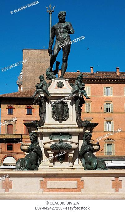 Fontana del Nettuno (meaning Neptun Fountain) in Bologna, Italy
