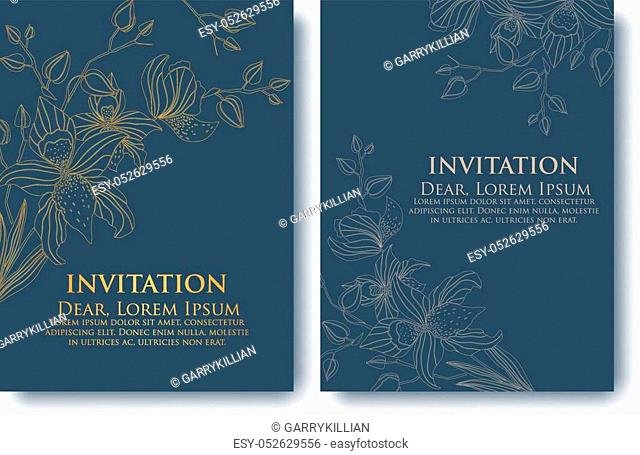 Vector invitation or wedding, cards with floral elements. Elegant floral abstract ornaments. Front and back side of card. Design element