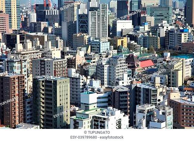 Tokyo, Japan - aerial view of Bunkyo district. Modern city