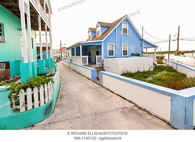 Pastel colored houses in New Plymouth on Green Turtle Cay, Bahamas