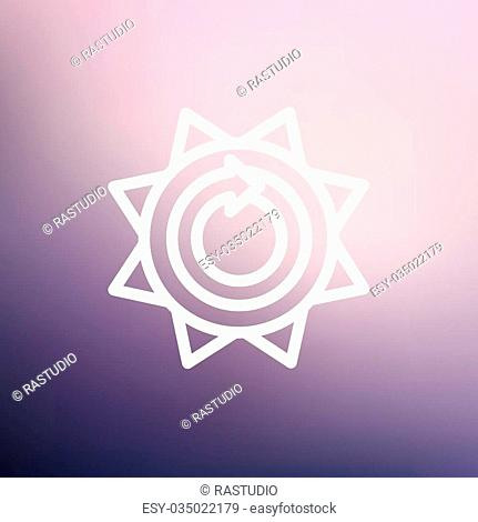 Sun with spiral arrow icon thin line for web and mobile, modern minimalistic flat design. Vector white icon on gradient mesh background