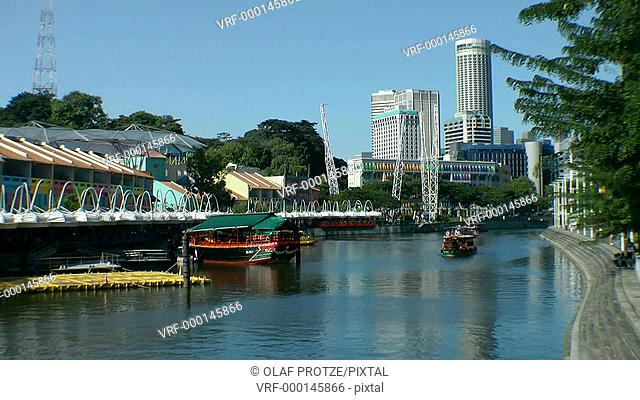 Clarke Quay with its restored Shop Houses at the Singapore River, Singapore