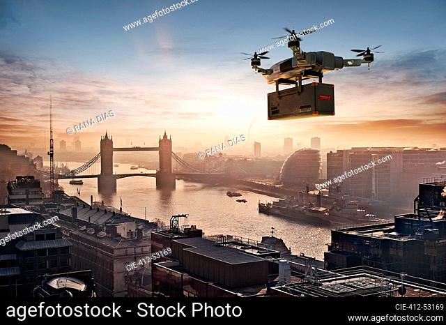 Drone delivery package over London, UK