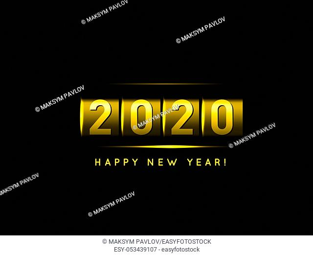 New Year golden counter 2020. Vector iIllustration on black background