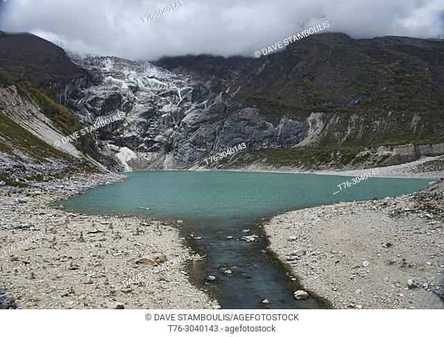 Emerald Birendra Tal holy lake under the Manaslu Glacier, Samagaon, Nepal
