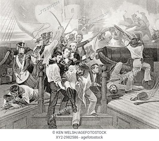 The death of James Lawrence aboard the USS Chesapeake after a single-ship action against HMS Shannon during The War of 1812