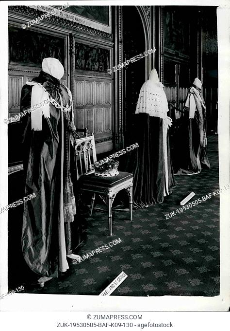 May 05, 1953 - Roses ad Insigna on Show at house of Lords.: Some of the exhibits on a show at the exhibition of robes and insignia which has opened to the...