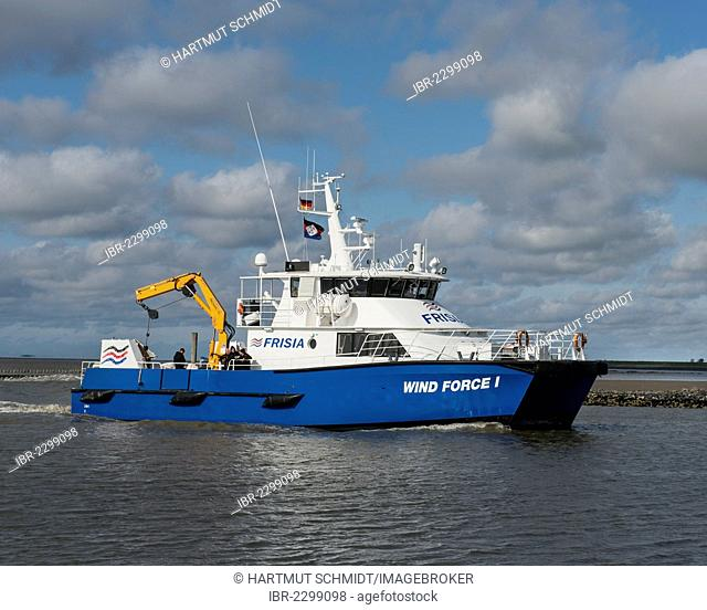 Wind Force I offshore catamaran, transport vessel for people and cargo to the offshore wind farm Alpha Ventus, Lower Saxony Wadden Sea, East Frisia, Germany