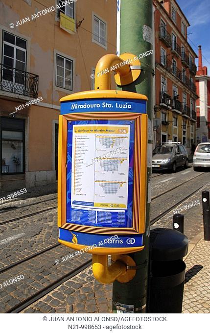Miradouro de Santa Luzia tram stop  Alfama, Lisbon, Portugal