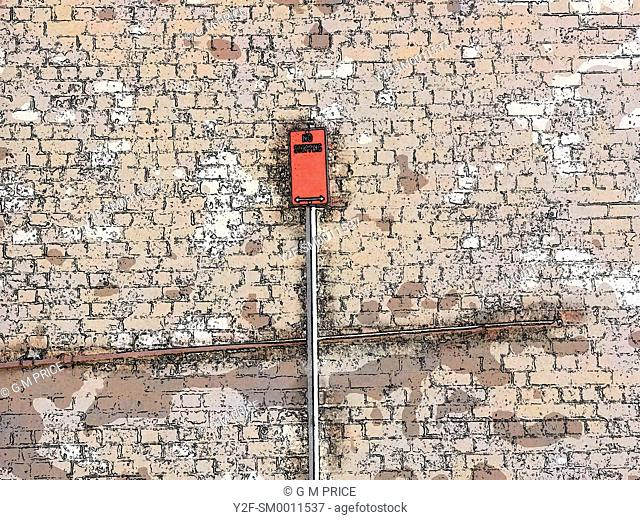 graphic, stylised image of Sydney street sign against brick wall