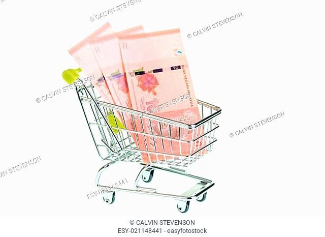 Malaysian ringgit in shopping cart