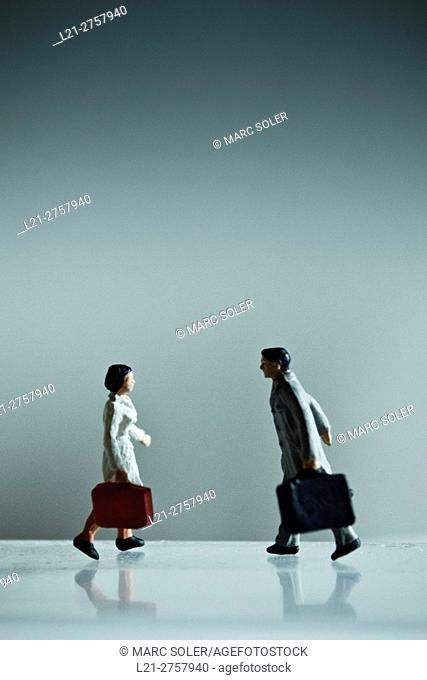 Concept, couple, travel, love. Man and woman with suitcase, couple is reunited after travelling