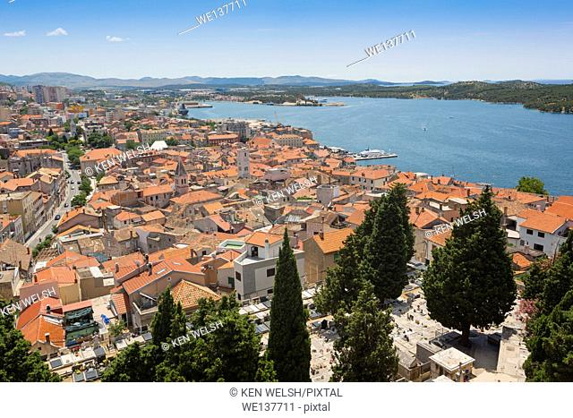 Sibenik, Sibenik-Knin County, Dalmatia, Croatia. Overall views of the town