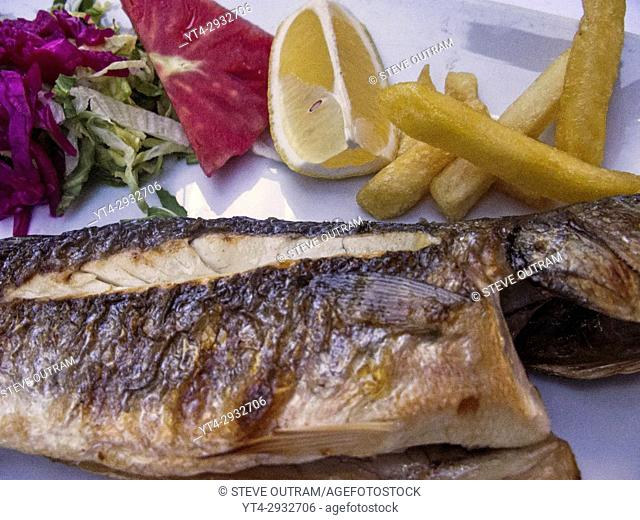 Freshly Cooked Red Mullet at a Fish Restaurant, Kumkapi, Istanbul, Turkey
