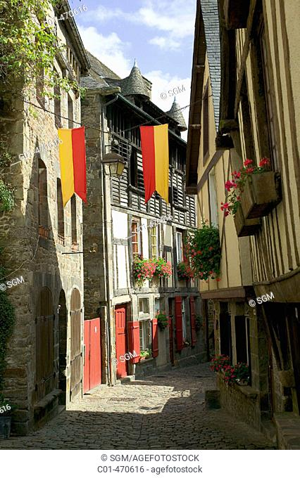 Medieval street and houses. Dinan. Brittany. France