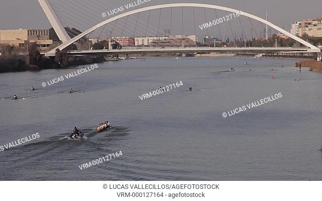 The river Guadalquivir. Bridge of La Barqueta and Bridge of the Alamillo . Seville, Andalusia, Spain