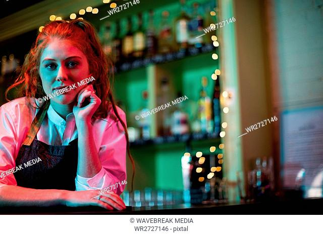 Female bartender leaning on the bar counter