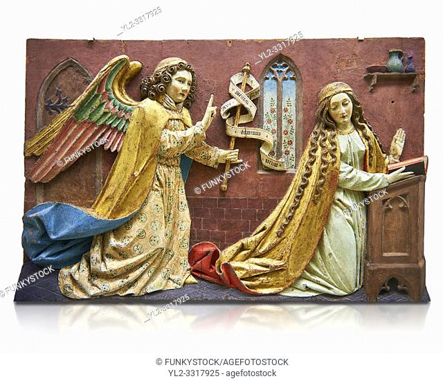 Painted relief panel of the Annonciation of the Virgin, made at the start of the 16th century possibly in the Tyrol, Austria