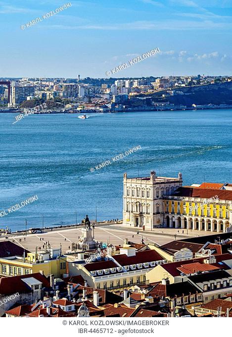 Praça do Comércio and Tajo River, seen from Sao Jorge Castle, Lisbon, Portugal