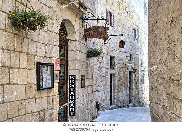 small alley in Mdina, Malta