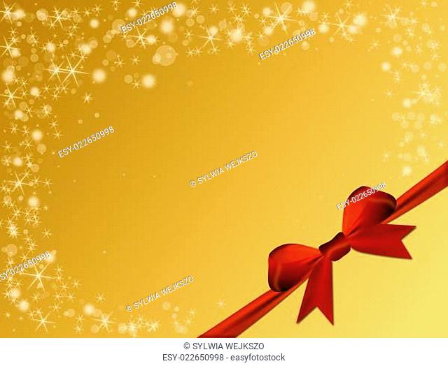 Shiny golden background with red bow