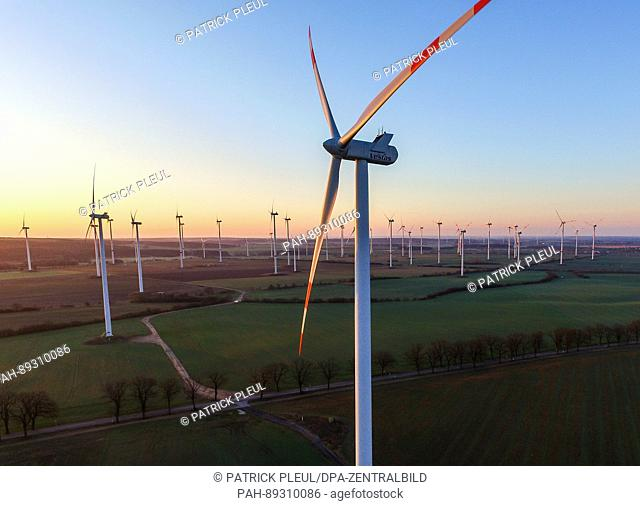 "Photographed from a drone, the wind farm """"Jacobsdorf"""" can be seen shortly after sunrise near Petersdorf, Germany, 24 March 2017"