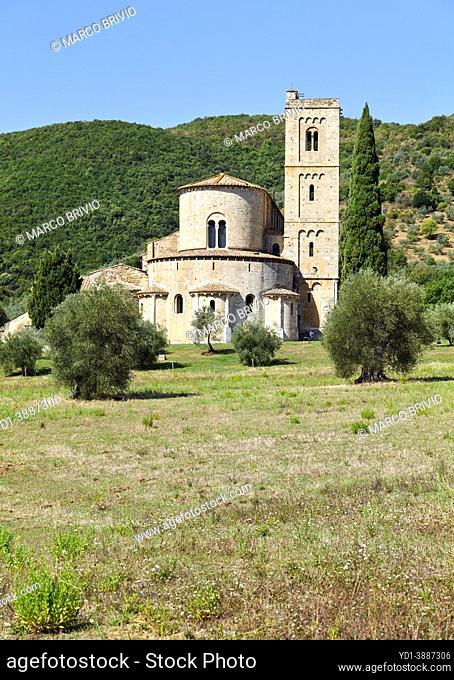 The Abbey of Sant'Antimo (Abbazia di Sant'Antimo), benedectine monastery. Montalcino Val d'Orcia Tuscany Italy