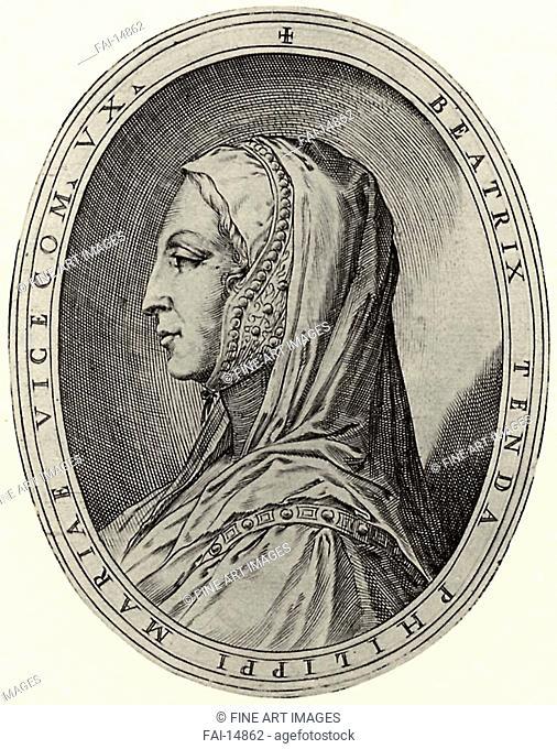 Portrait of Beatrice di Tenda. Illustration for Cremona fedelissima. Campi, Antonio (c. 1522-1587). Copper engraving. Mannerism. 1582–1584