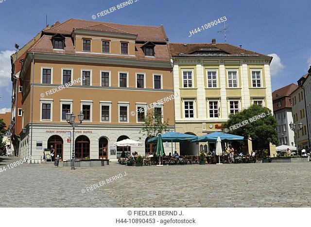 Germany, Europe, Saxony, Bautzen, houses, homes, central market, tourism, information, architecture, building, construction, places, spaces, street, lanterns