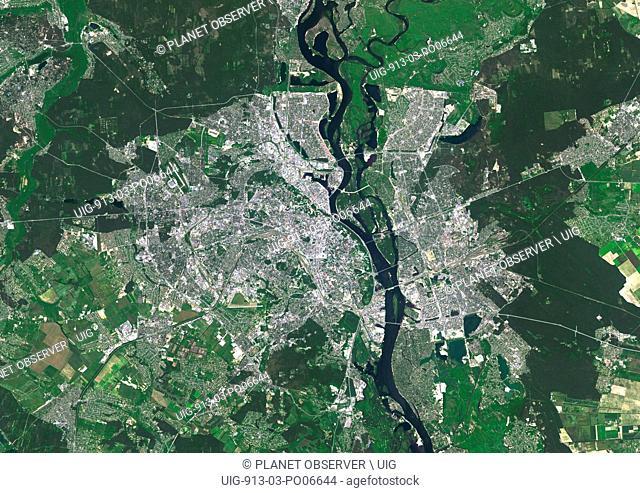 Colour satellite image of Kiev, Ukraine. Image taken on June 6, 2014 with Landsat 8 data