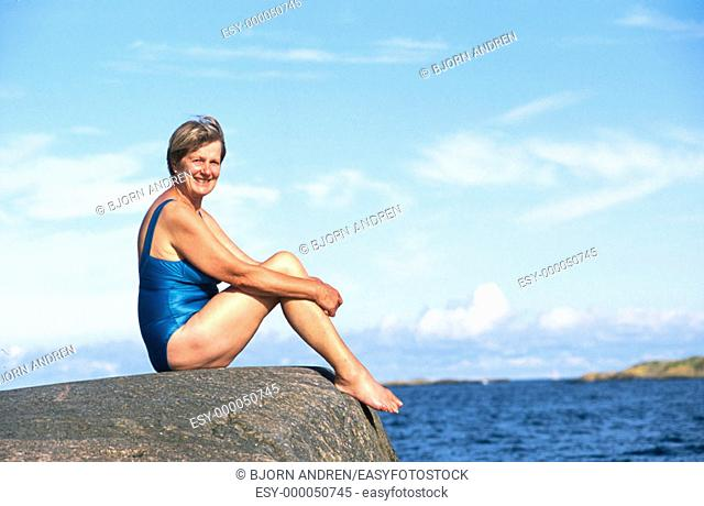 Mature woman in bathing suit