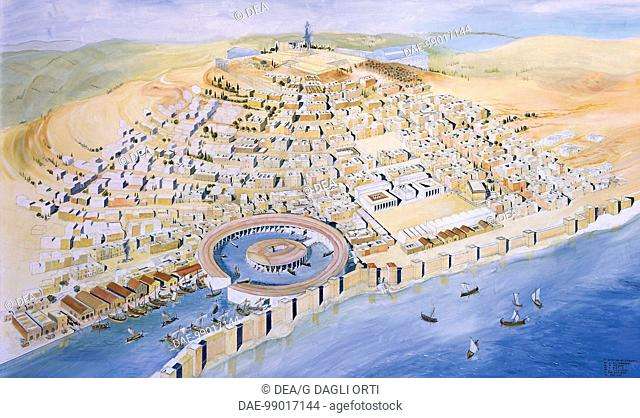 Punic civilization. Reconstruction of Byrsa Hill, with the Punic city and Hannibal's circular harbour, late 4th-2nd century b.C. Fresco by architect J