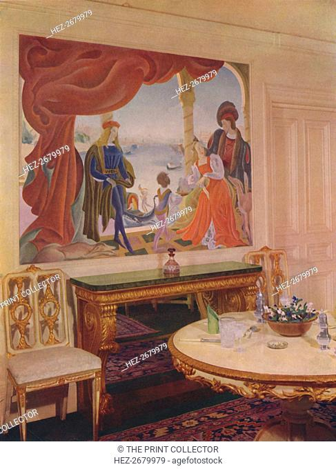 'Mural by Beatrice MacDermott, depicting a Venetian scene, and framed in one of the dining-room pane Artist: Unknown